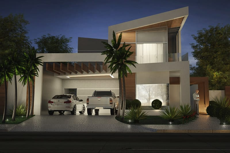 Two storey house with wood flooring