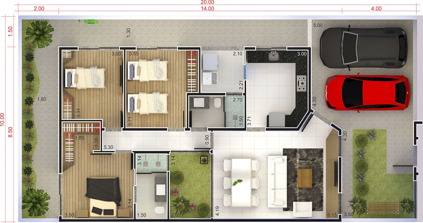House with high ceilings and light area10x20