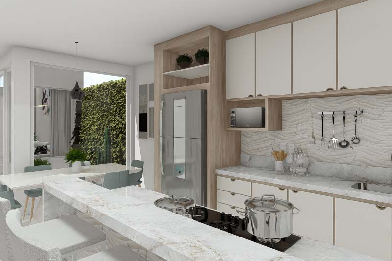 House plan with integrated environments