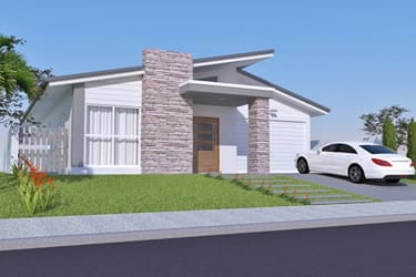 Single storey house with stone facade