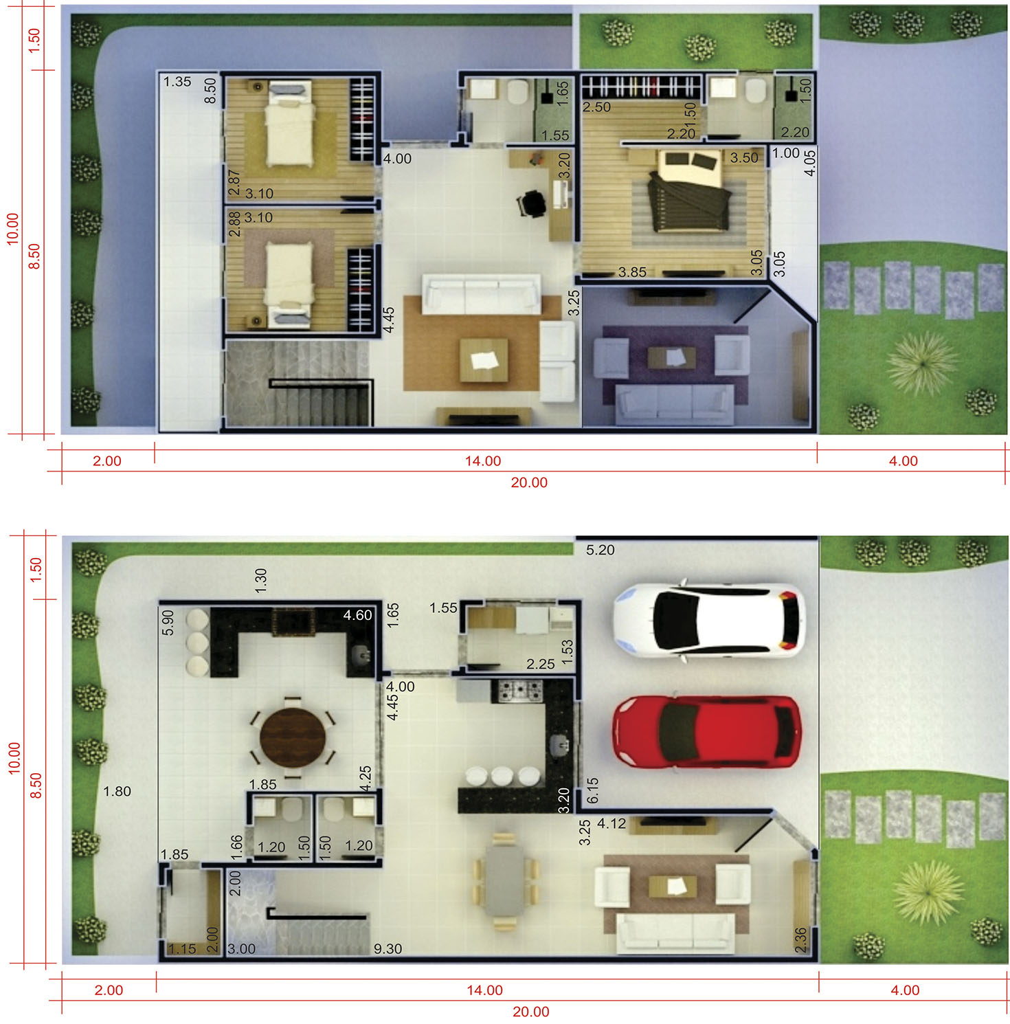 Floor plan with balcony10x20