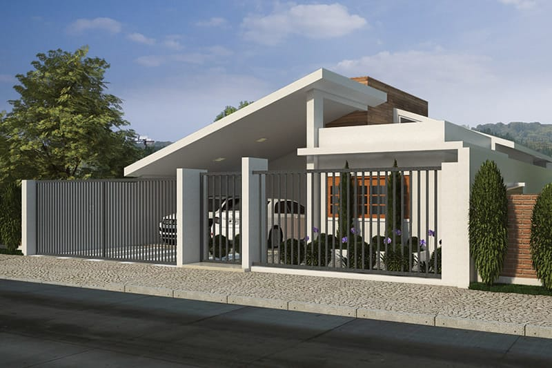Single storey house with garage for two cars