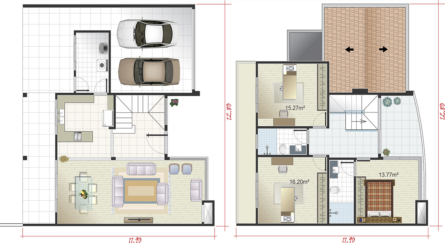 Colonial floor plan with fireplace12.80x25