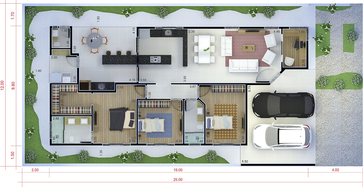 Floor plan with apparent roof12x25
