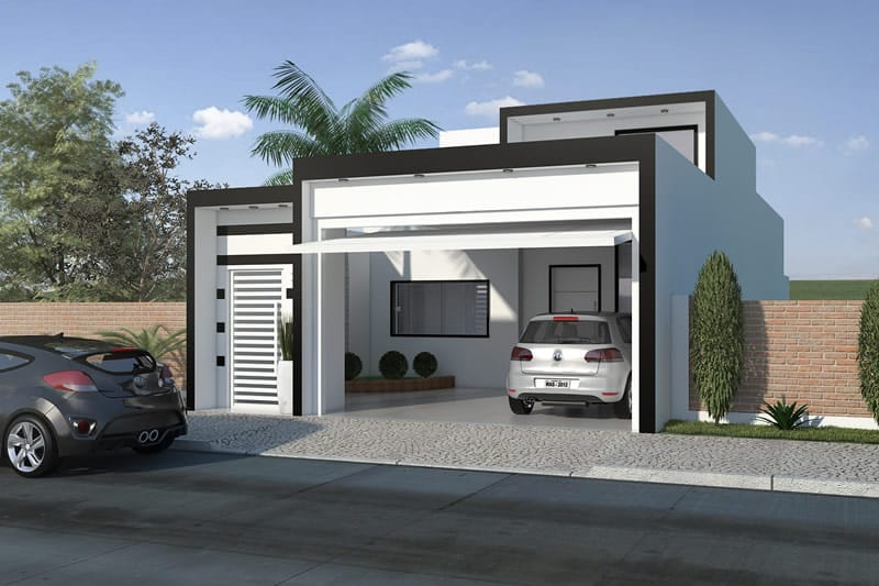 House plan with black and white facade
