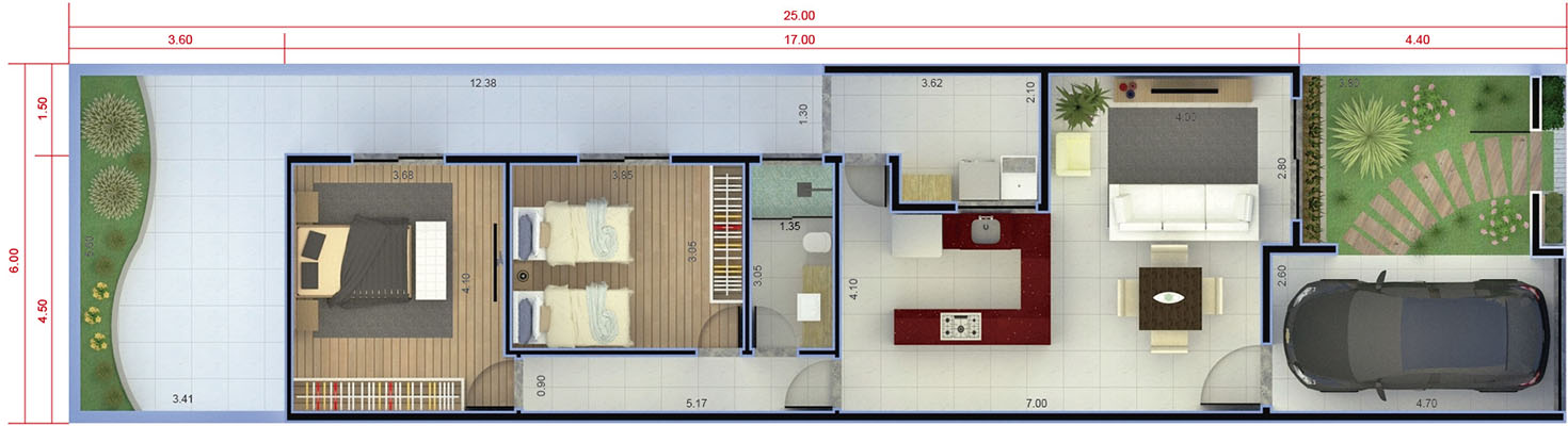 House plan with 2 bedrooms6x25
