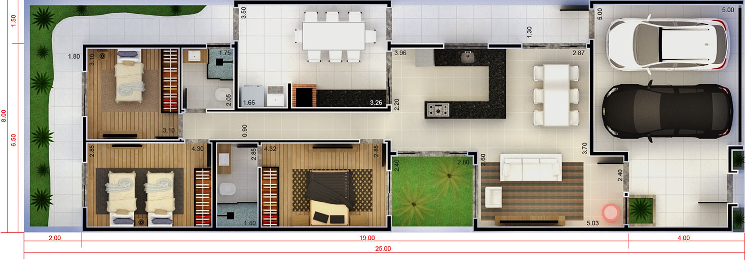 Small house with 3 bedrooms8x25