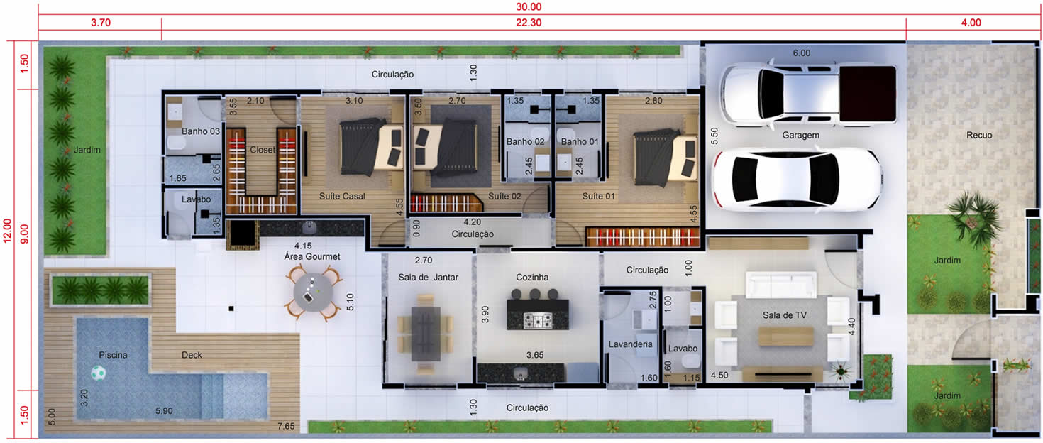 Single storey house with 3 suites12x30