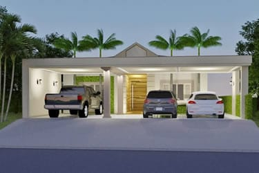 House plan with 3 parking spaces