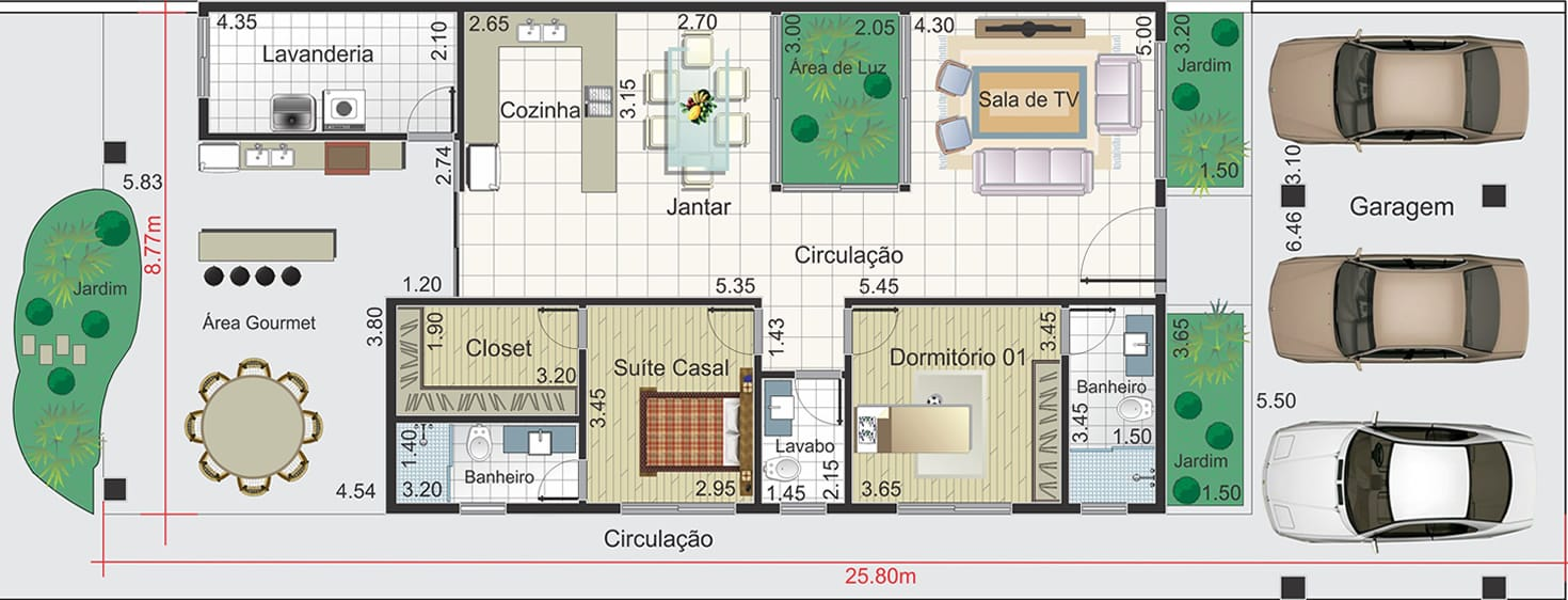 House plan with 3 parking spaces10,50x25,80