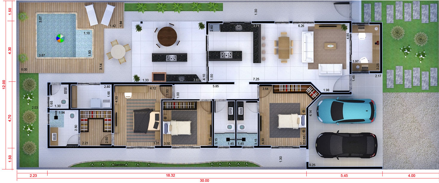 Ground floor house plan with office12x30