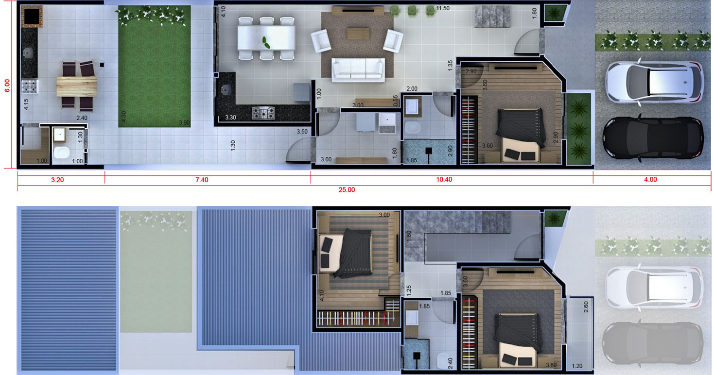 Floor plan with bedroom on the ground floor6x25