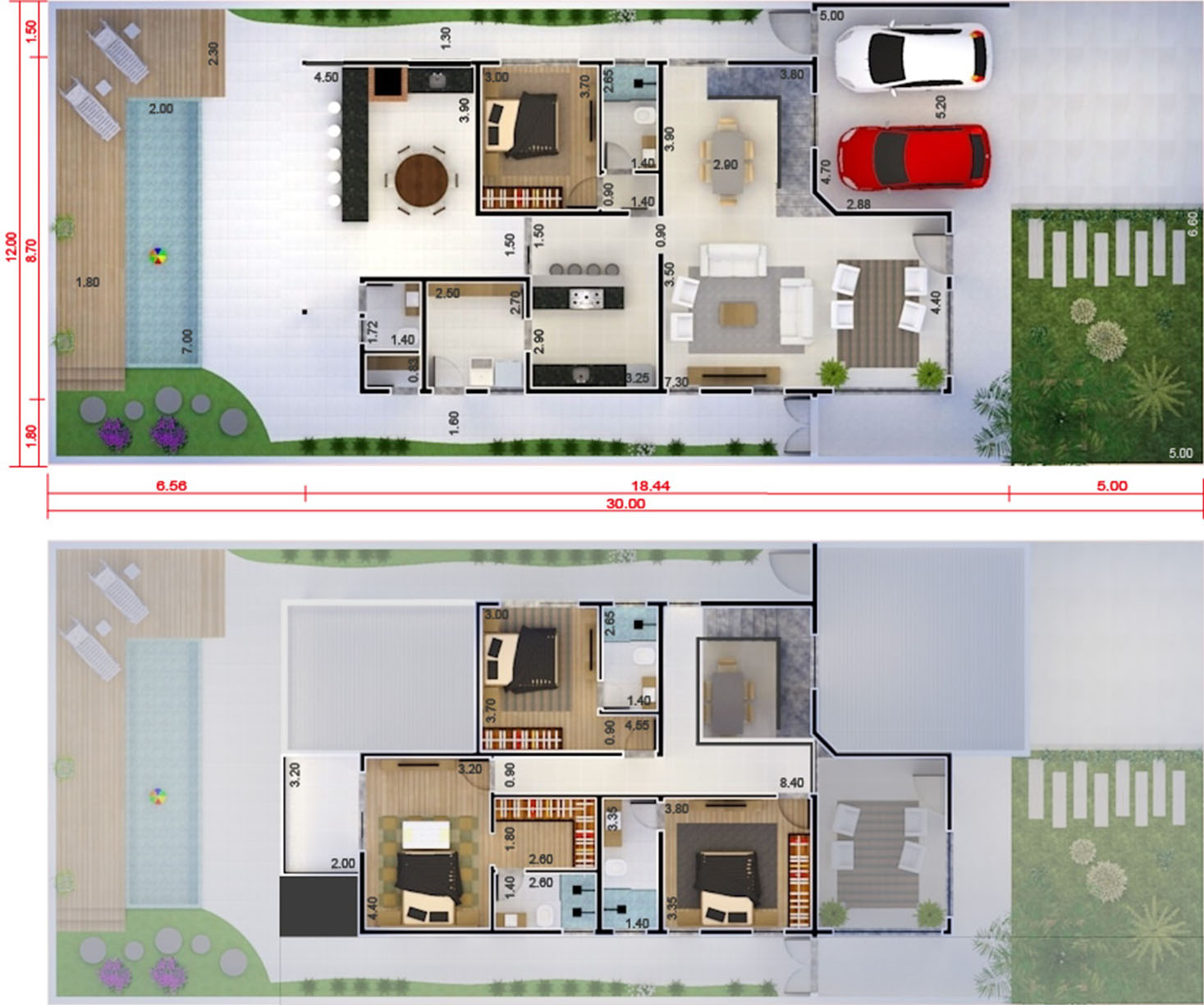 Floor plan with bedroom on the ground floor12x30