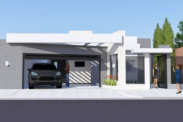Modern house plan with gourmet area