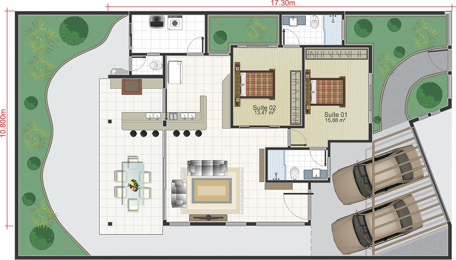 Modern house plan with gourmet area12,50x25