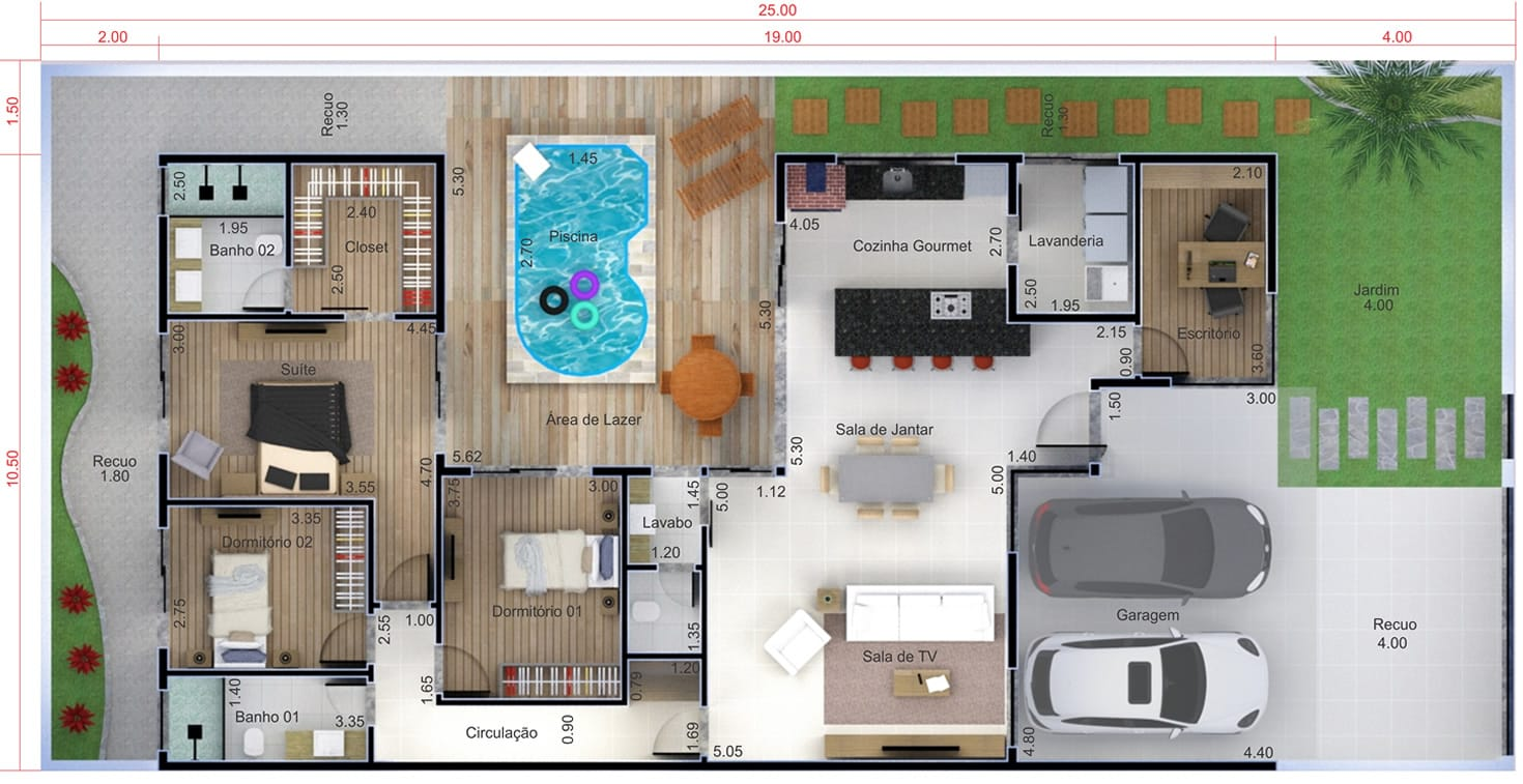 Ground floor house with swimming pool12x25